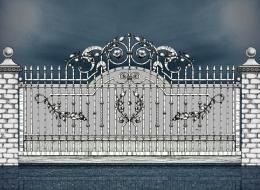 Кованые откатные ворота Воронеж №4
