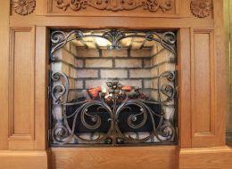 Кованые каминные наборы, дровницы, решетки №77